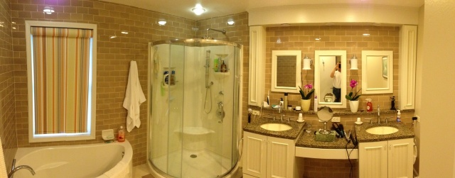 Bob and Judy's dream bath (Gahanna) with a fresh spin subway tile.