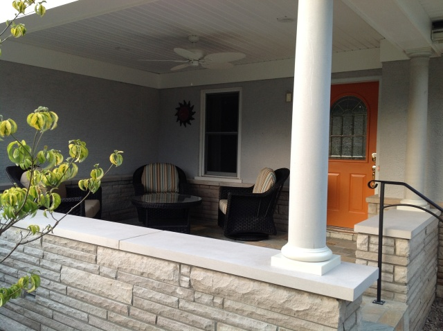 A close up of the Gahanna porch addition.